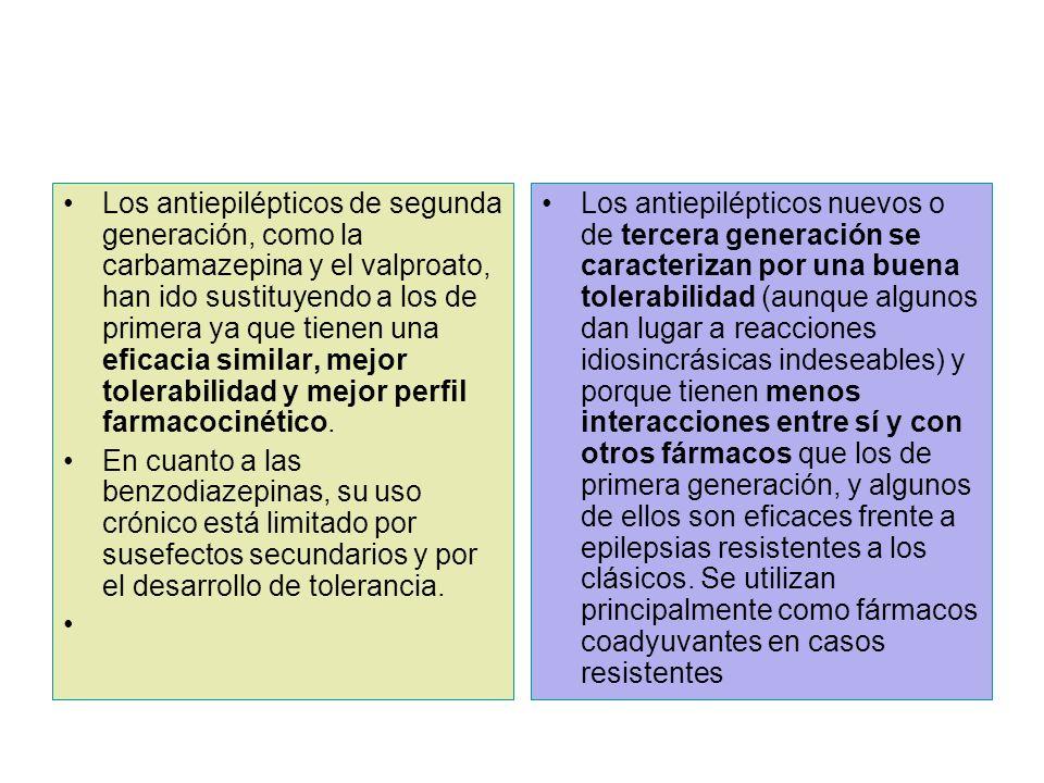 Los antiepilépticos de segunda generación, como la carbamazepina y el valproato, han ido sustituyendo a los de primera ya que tienen una eficacia similar, mejor tolerabilidad y mejor perfil farmacocinético.