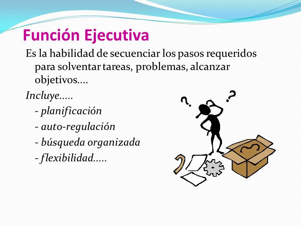 Función Ejecutiva Es la habilidad de secuenciar los pasos requeridos para solventar tareas, problemas, alcanzar objetivos....