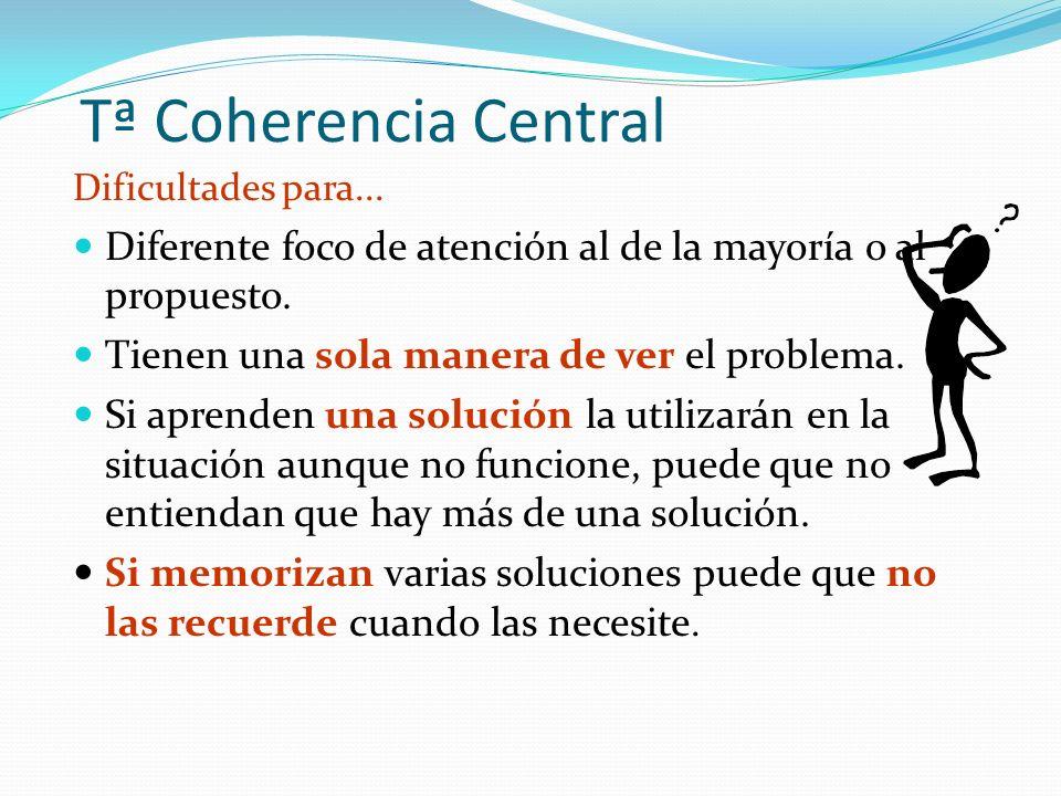Tª Coherencia Central Dificultades para... Diferente foco de atención al de la mayoría o al propuesto.