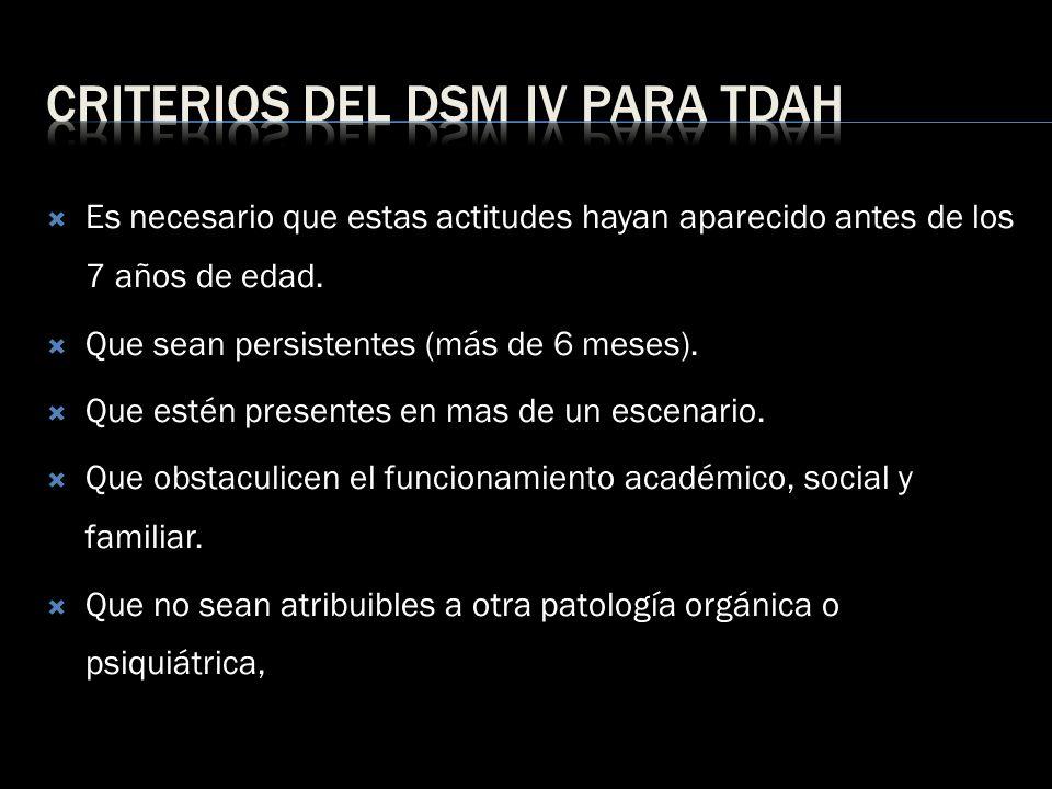 Criterios del dsm IV para TDAH