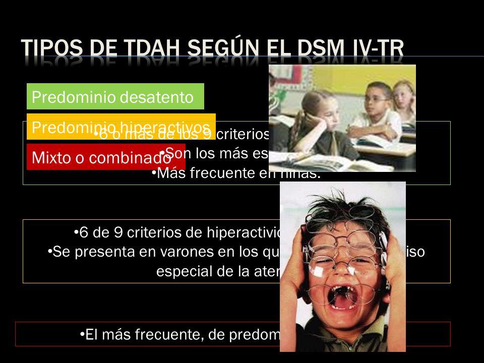 Tipos de tdah según el dsm iv-Tr