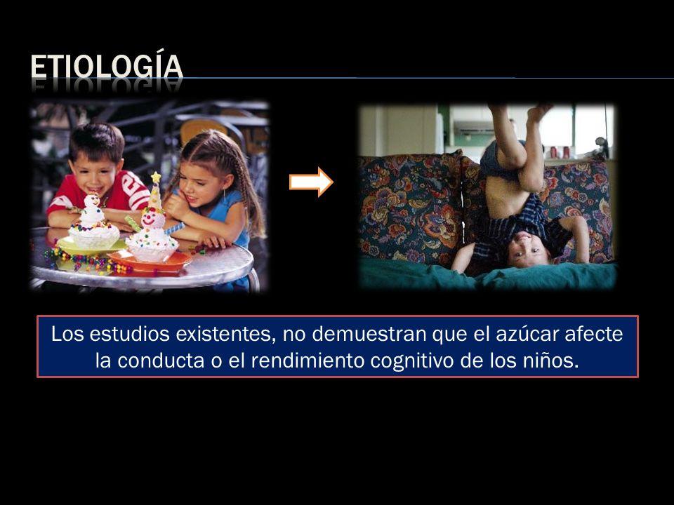 etiología Los estudios existentes, no demuestran que el azúcar afecte la conducta o el rendimiento cognitivo de los niños.