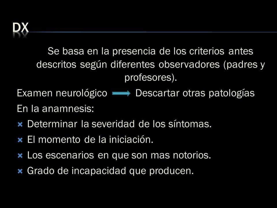 dx Se basa en la presencia de los criterios antes descritos según diferentes observadores (padres y profesores).