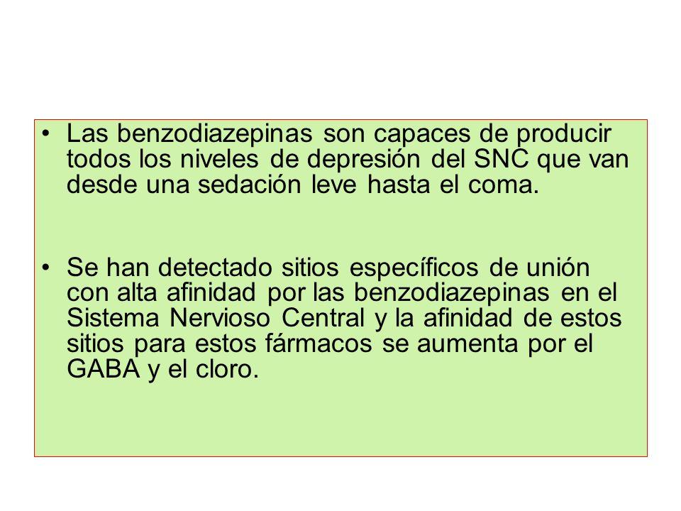 Las benzodiazepinas son capaces de producir todos los niveles de depresión del SNC que van desde una sedación leve hasta el coma.