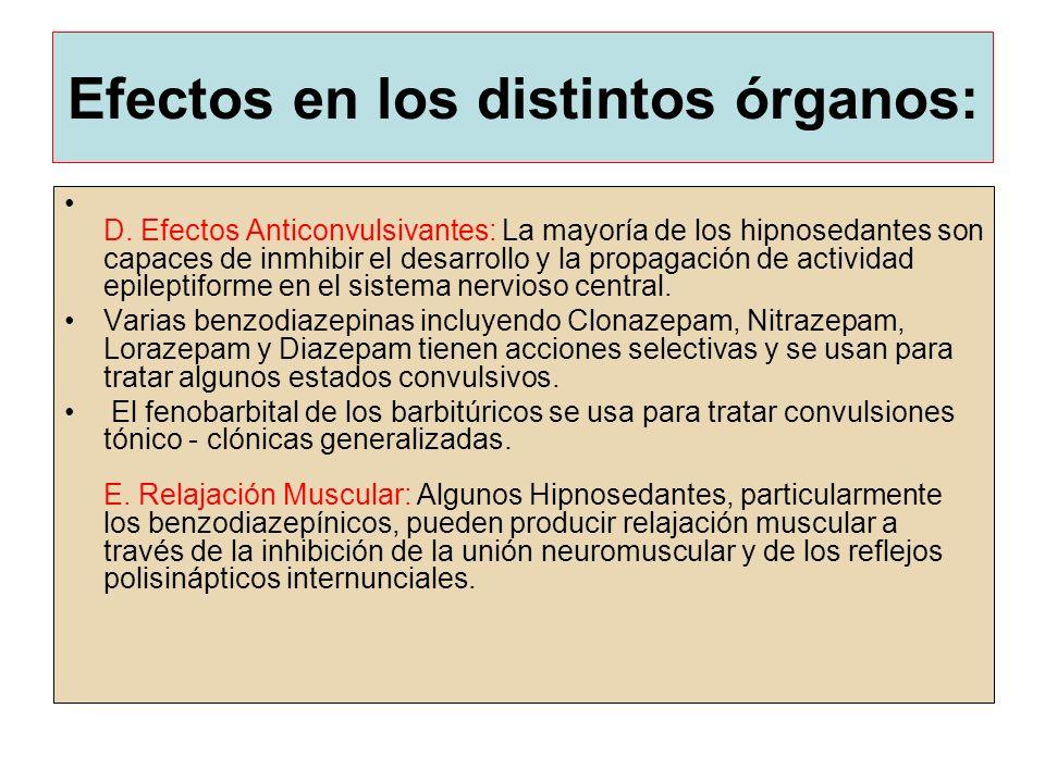 Efectos en los distintos órganos: