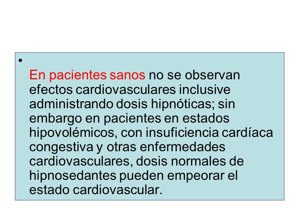 En pacientes sanos no se observan efectos cardiovasculares inclusive administrando dosis hipnóticas; sin embargo en pacientes en estados hipovolémicos, con insuficiencia cardíaca congestiva y otras enfermedades cardiovasculares, dosis normales de hipnosedantes pueden empeorar el estado cardiovascular.