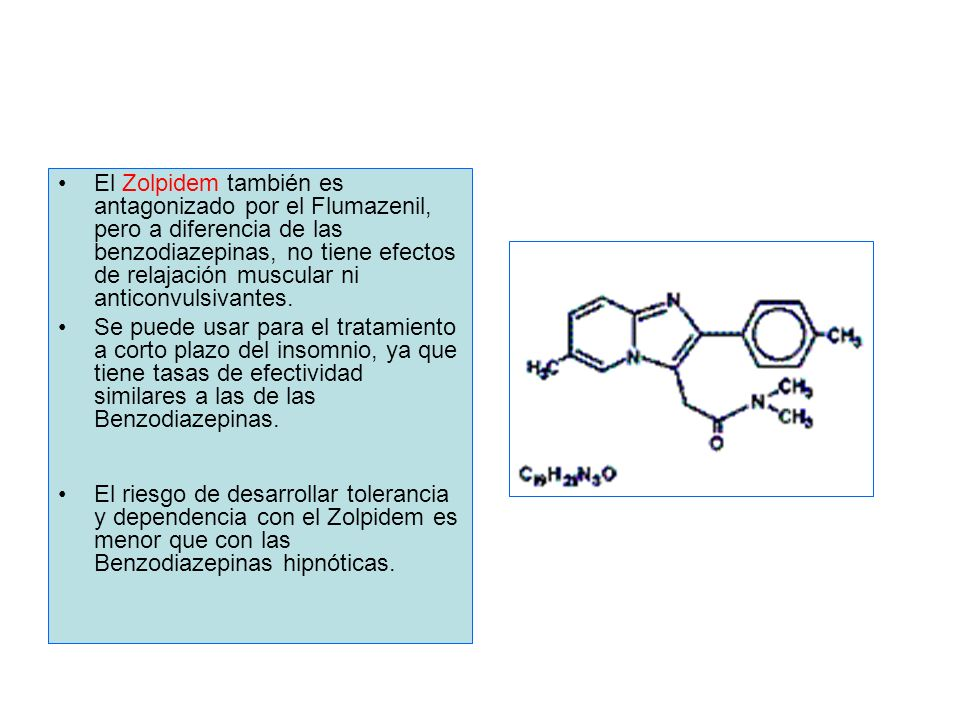 El Zolpidem también es antagonizado por el Flumazenil, pero a diferencia de las benzodiazepinas, no tiene efectos de relajación muscular ni anticonvulsivantes.