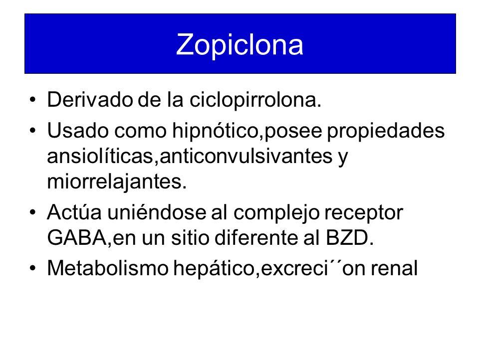 Zopiclona Derivado de la ciclopirrolona.