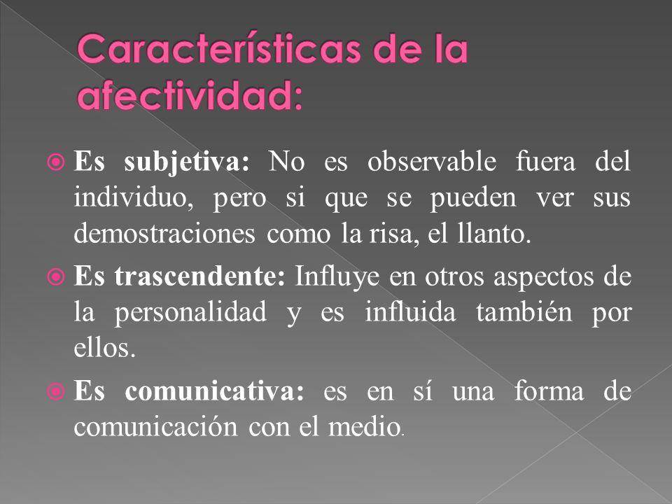 Características de la afectividad: