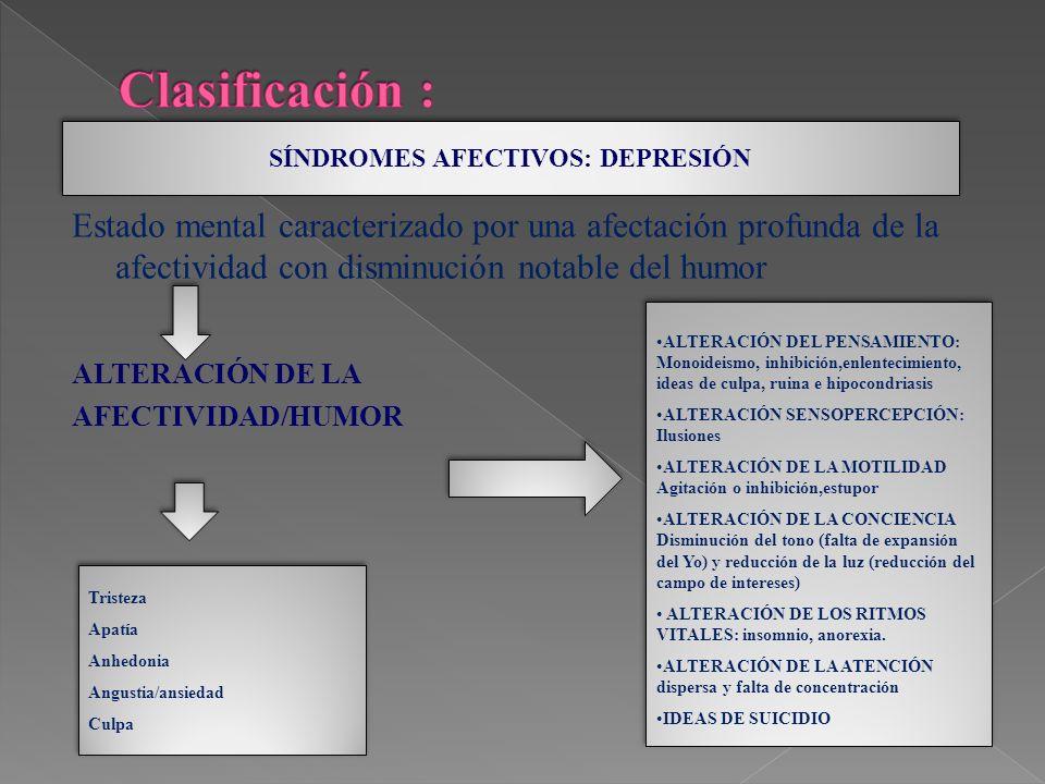 SÍNDROMES AFECTIVOS: DEPRESIÓN