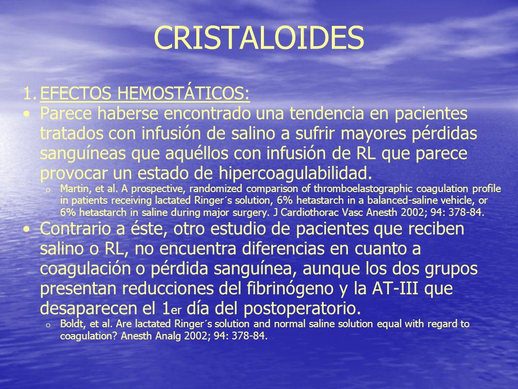 CRISTALOIDES EFECTOS HEMOSTÁTICOS: