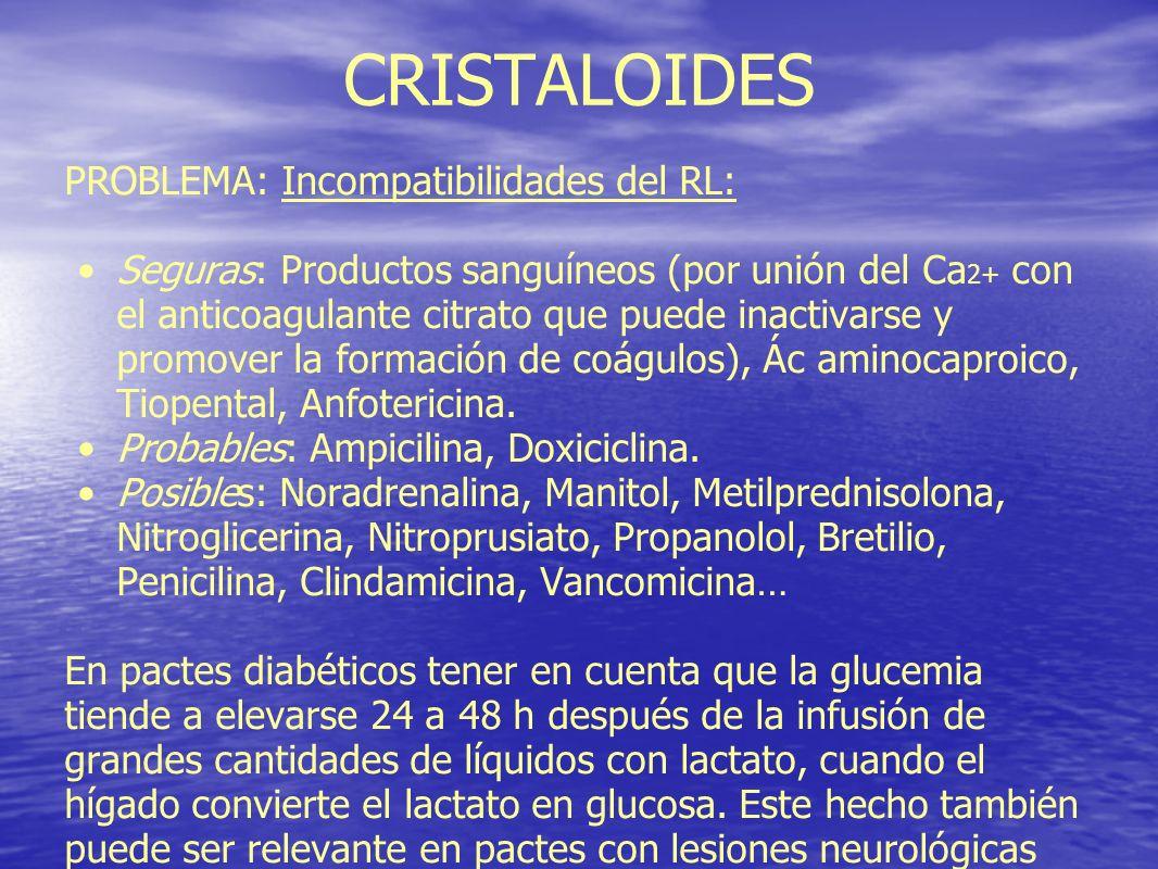 CRISTALOIDES PROBLEMA: Incompatibilidades del RL: