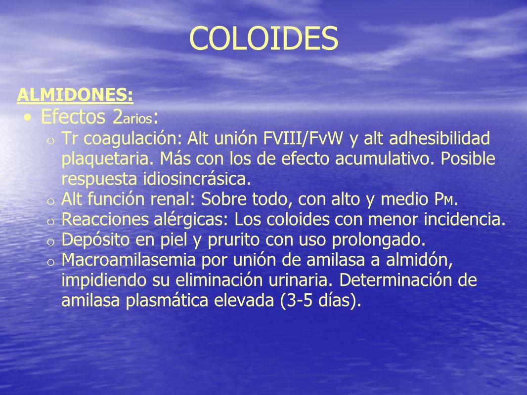 COLOIDES Efectos 2arios: ALMIDONES: