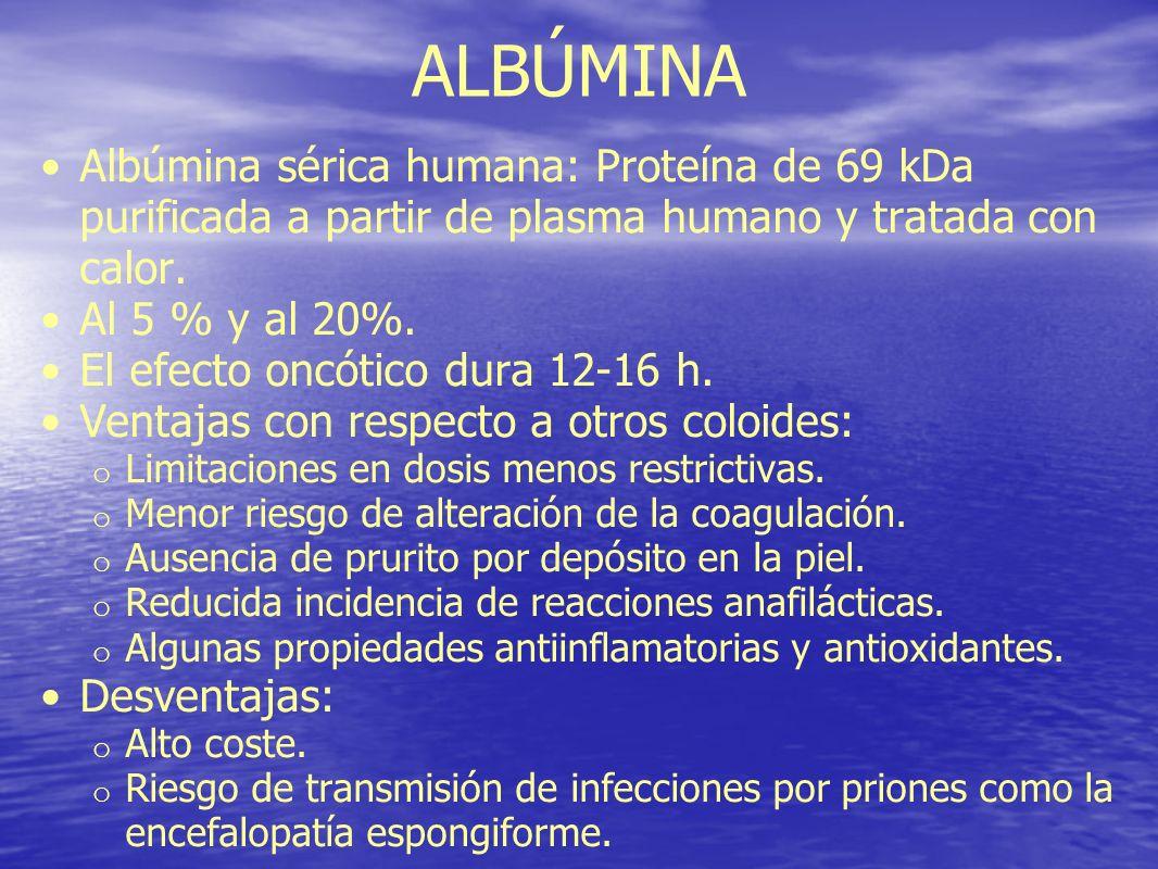 ALBÚMINA Albúmina sérica humana: Proteína de 69 kDa purificada a partir de plasma humano y tratada con calor.