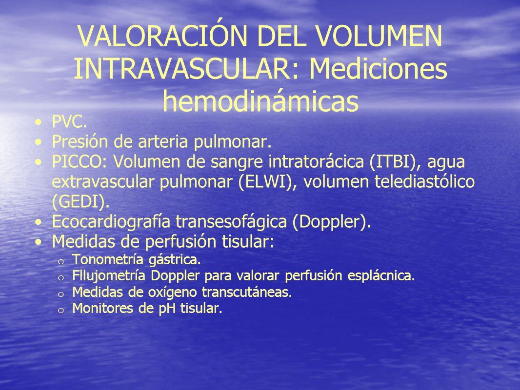 VALORACIÓN DEL VOLUMEN INTRAVASCULAR: Mediciones hemodinámicas