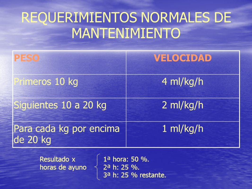 REQUERIMIENTOS NORMALES DE MANTENIMIENTO