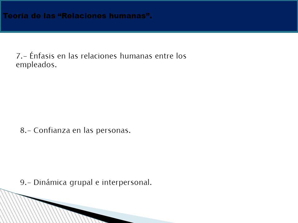Teoría de las Relaciones humanas .