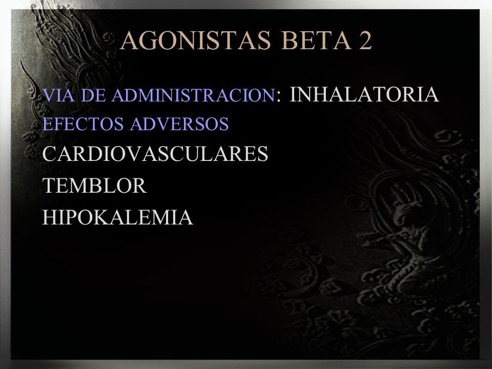 AGONISTAS BETA 2 CARDIOVASCULARES TEMBLOR HIPOKALEMIA