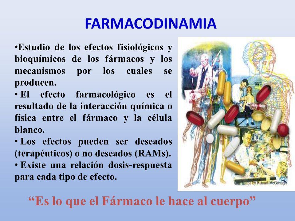 FARMACODINAMIA Es lo que el Fármaco le hace al cuerpo