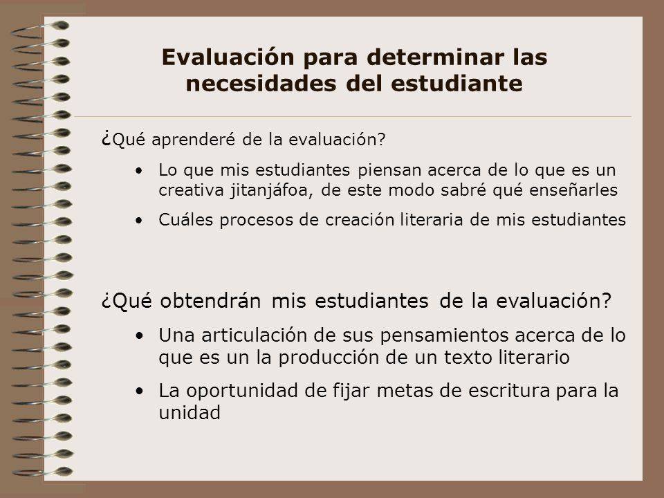 Evaluación para determinar las necesidades del estudiante