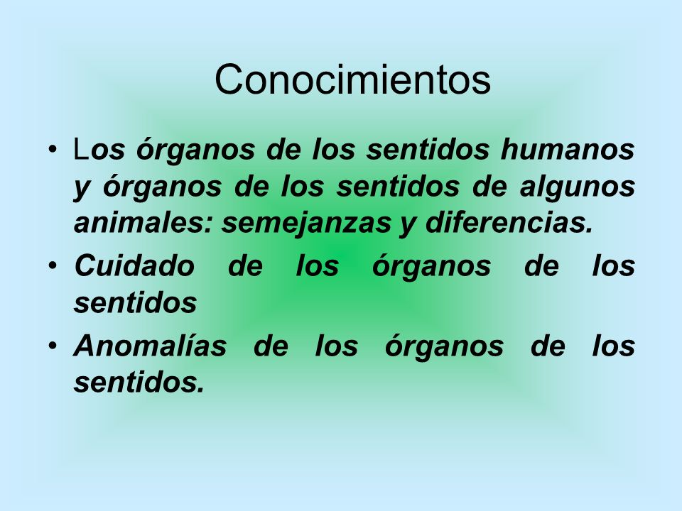 Conocimientos Los órganos de los sentidos humanos y órganos de los sentidos de algunos animales: semejanzas y diferencias.