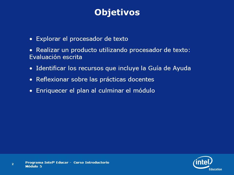 Objetivos Explorar el procesador de texto