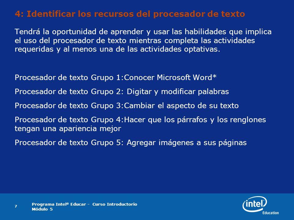 4: Identificar los recursos del procesador de texto