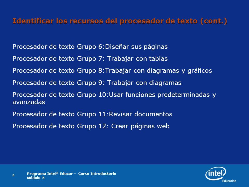 Identificar los recursos del procesador de texto (cont.)