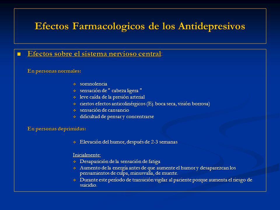 Efectos Farmacologicos de los Antidepresivos