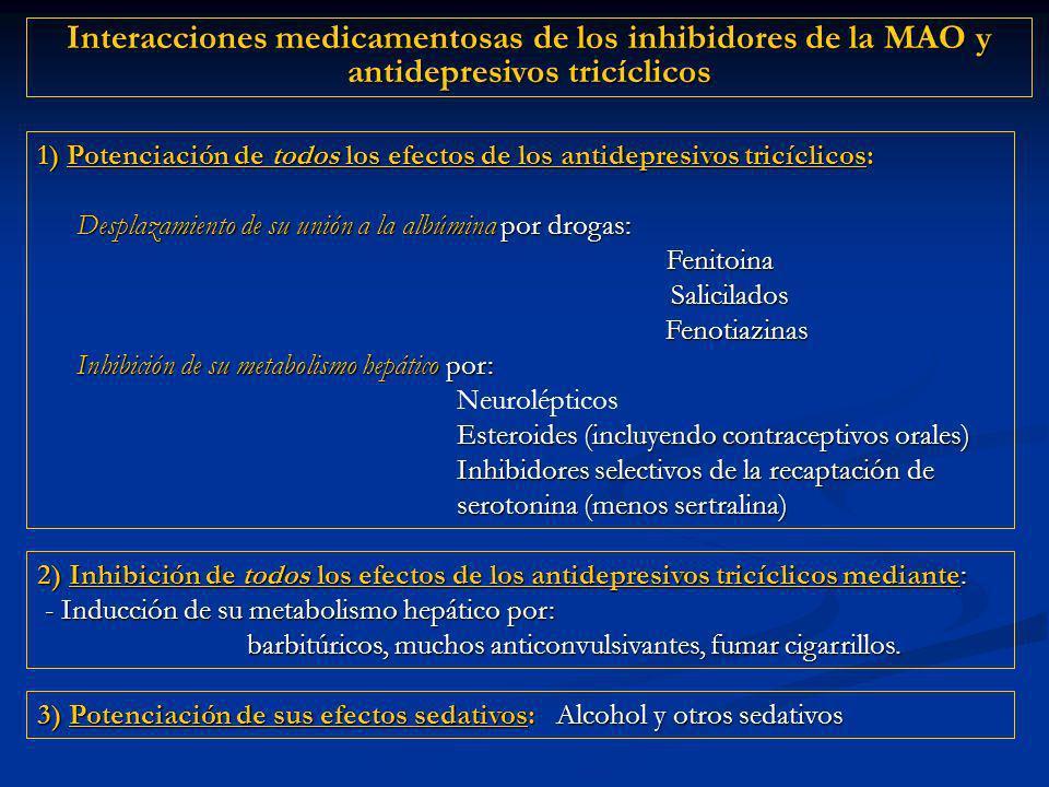 Interacciones medicamentosas de los inhibidores de la MAO y antidepresivos tricíclicos