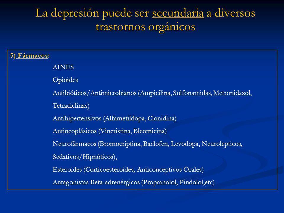 La depresión puede ser secundaria a diversos trastornos orgánicos