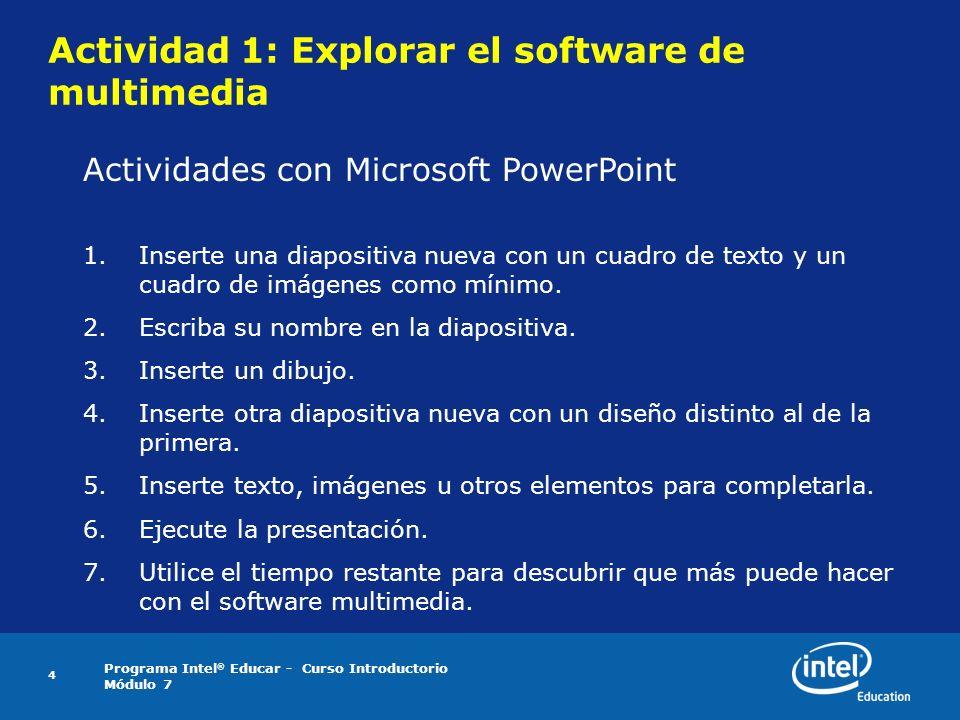 Actividad 1: Explorar el software de multimedia