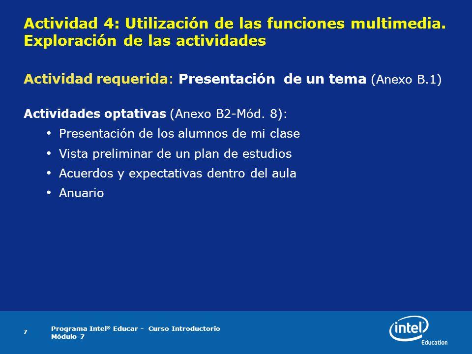 Actividad 4: Utilización de las funciones multimedia