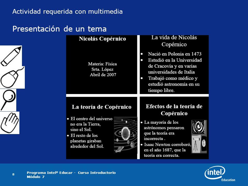 Actividad requerida con multimedia Presentación de un tema