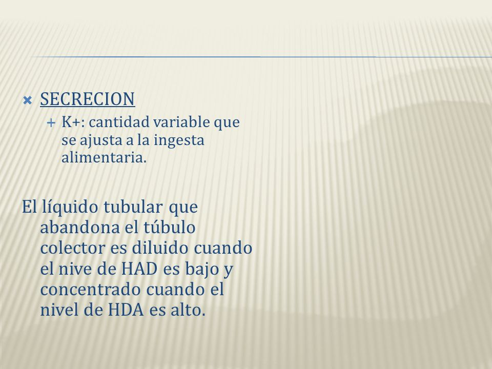 SECRECION K+: cantidad variable que se ajusta a la ingesta alimentaria.