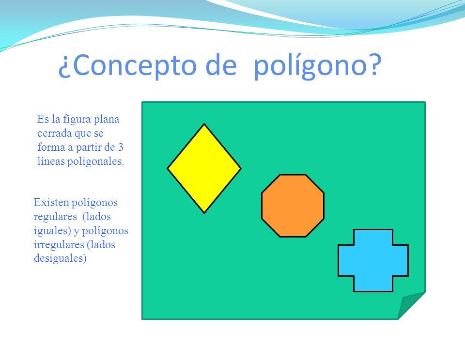 ¿Concepto de polígono Es la figura plana cerrada que se forma a partir de 3 líneas poligonales.
