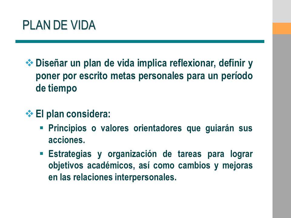 PLAN DE VIDA Diseñar un plan de vida implica reflexionar, definir y poner por escrito metas personales para un período de tiempo.