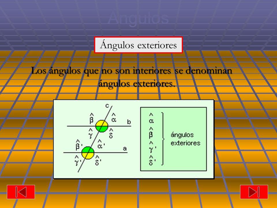 Los ángulos que no son interiores se denominan ángulos exteriores.