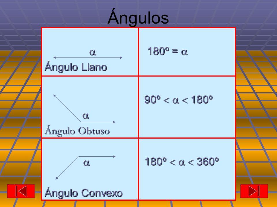 Ángulos  Ángulo Llano 180º =  Ángulo Obtuso 90º    180º