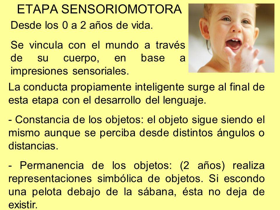 ETAPA SENSORIOMOTORA Desde los 0 a 2 años de vida.