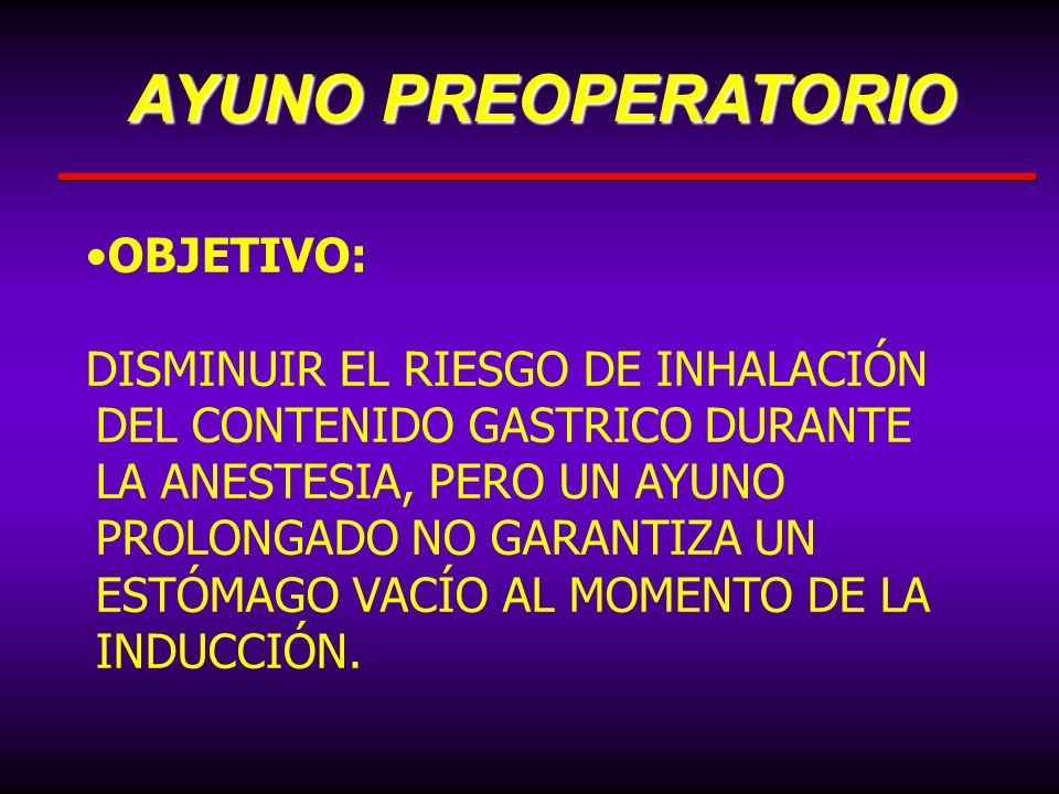 AYUNO PREOPERATORIO OBJETIVO:
