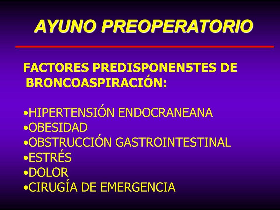 AYUNO PREOPERATORIO FACTORES PREDISPONEN5TES DE BRONCOASPIRACIÓN: