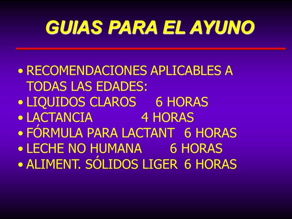 GUIAS PARA EL AYUNO RECOMENDACIONES APLICABLES A TODAS LAS EDADES: