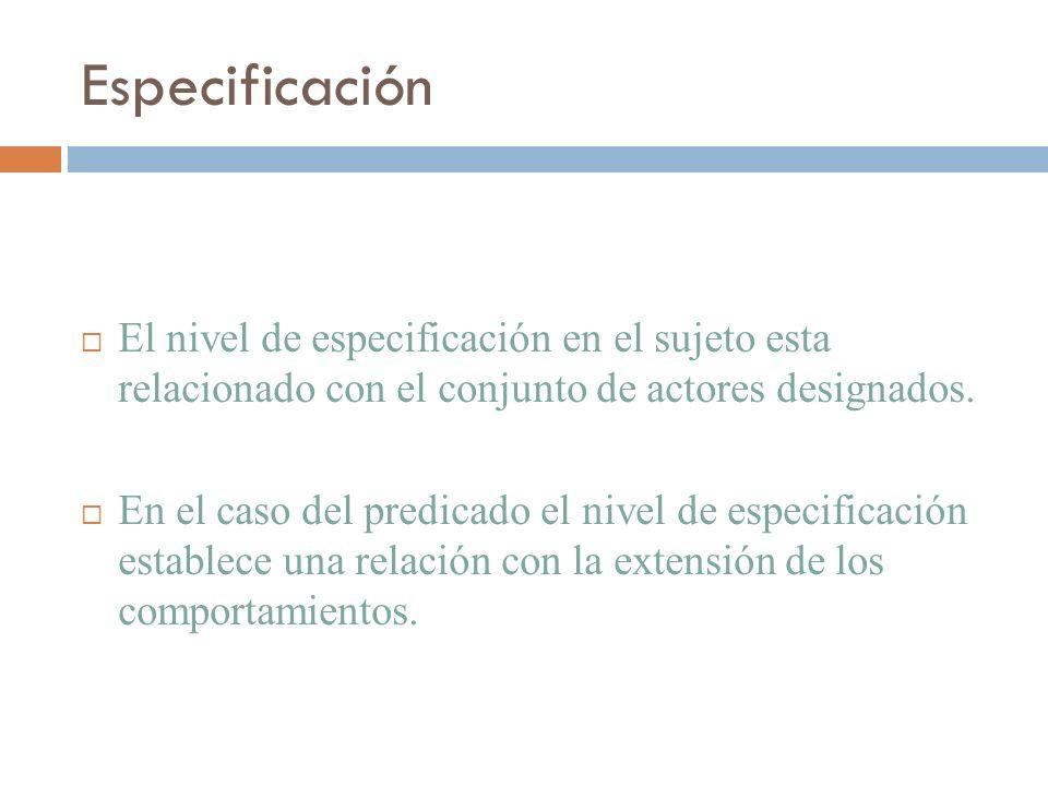 Especificación El nivel de especificación en el sujeto esta relacionado con el conjunto de actores designados.