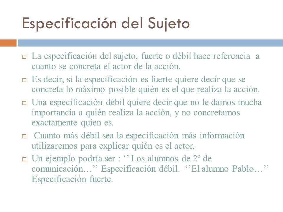 Especificación del Sujeto