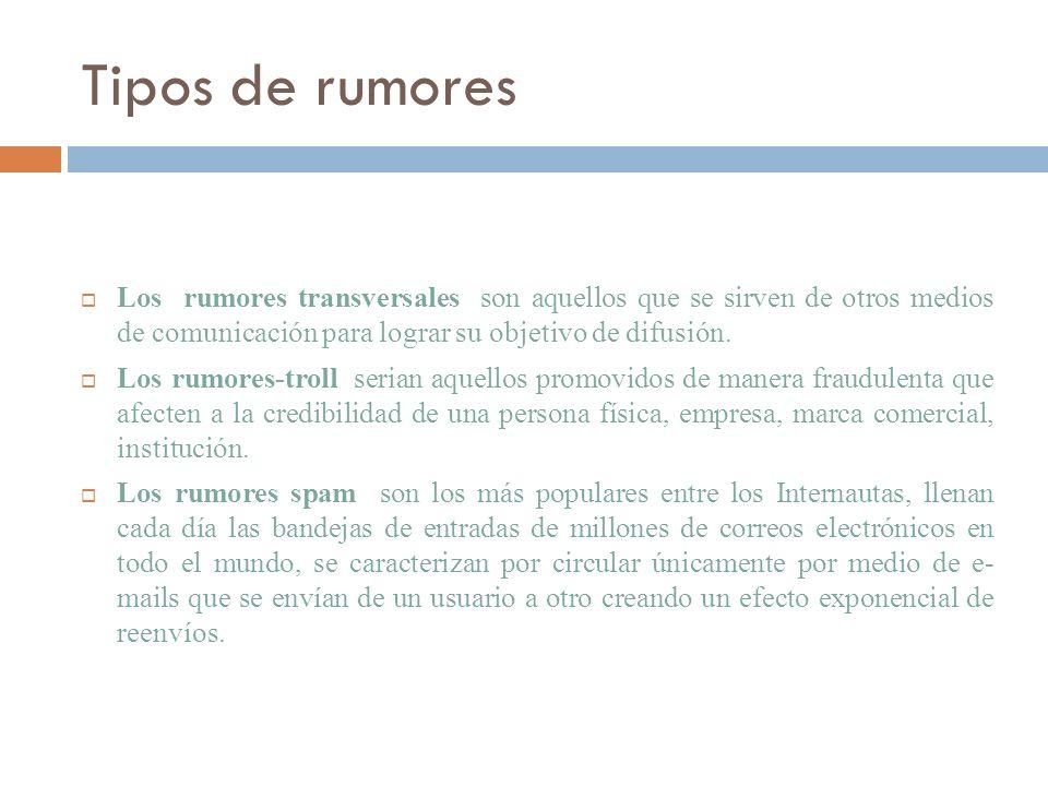 Tipos de rumores Los rumores transversales son aquellos que se sirven de otros medios de comunicación para lograr su objetivo de difusión.