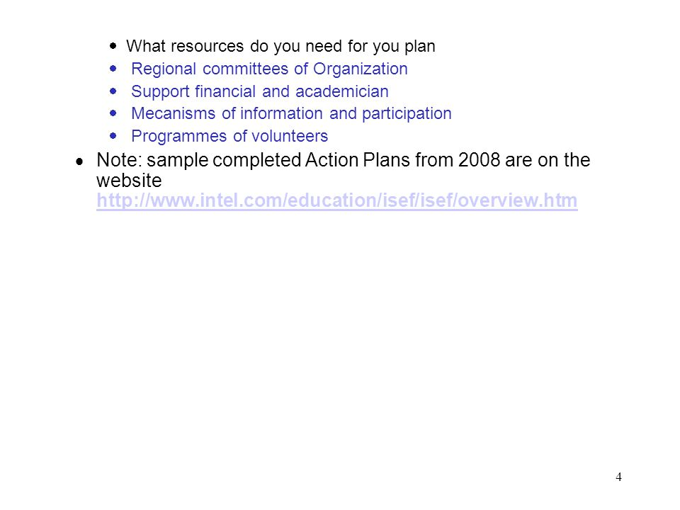 What resources do you need for you plan