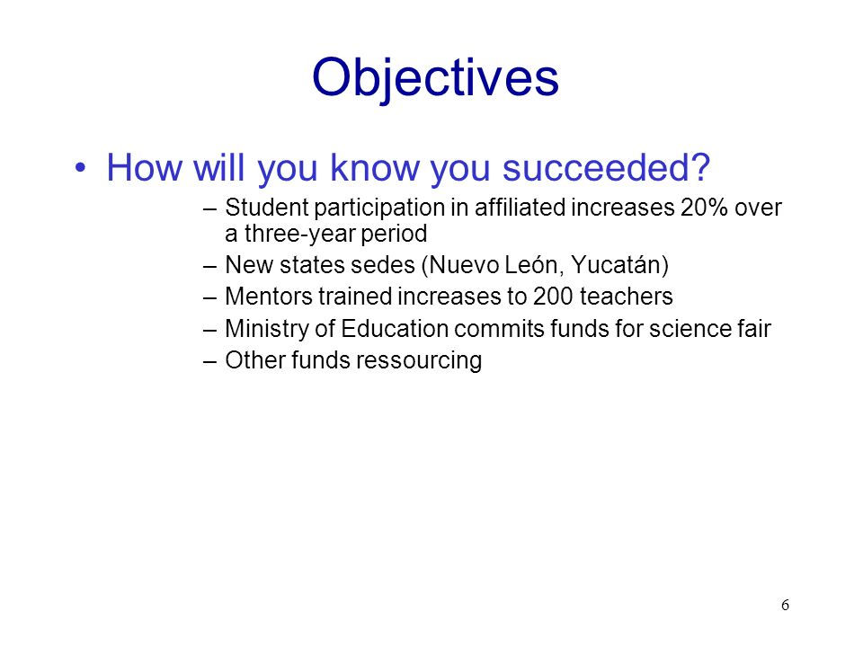 Objectives How will you know you succeeded