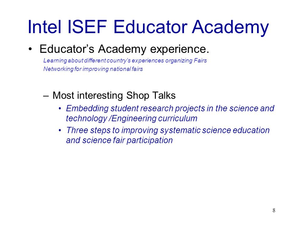 Intel ISEF Educator Academy
