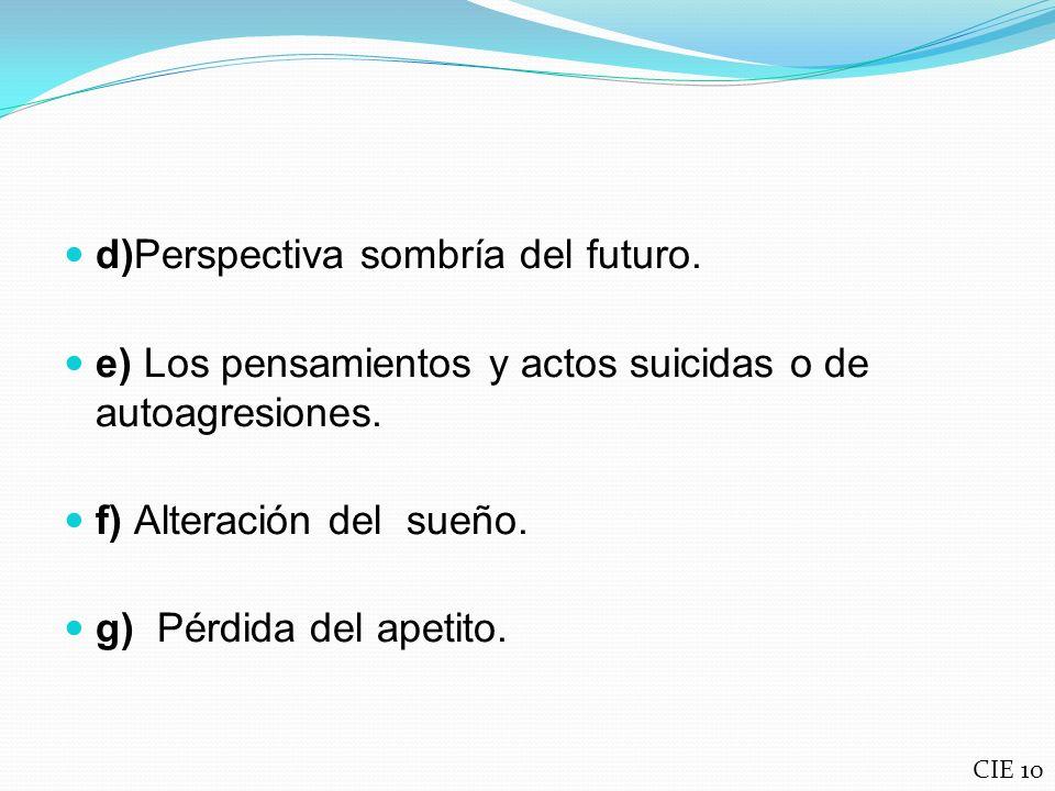 d)Perspectiva sombría del futuro.